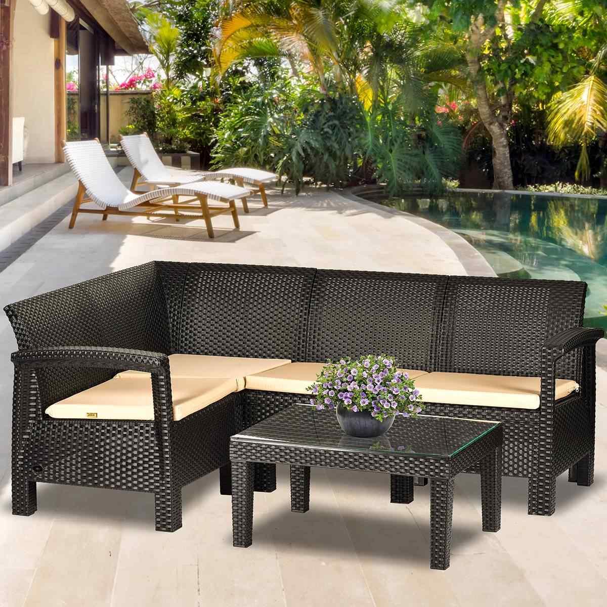 Holiday Florida 3+2+1 Oturma Grubu Bahçe Ve Balkon Köşe Koltuk Takımı Kahverengi
