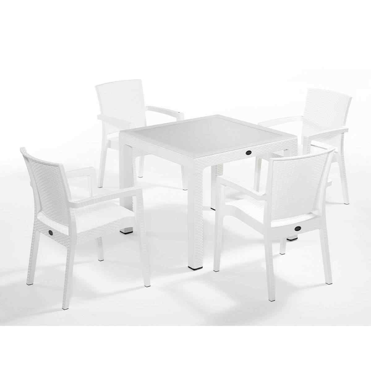 Novussi Zenit 4 Kişilik Bahçe Masa Takımı 90x90 Camlı Beyaz