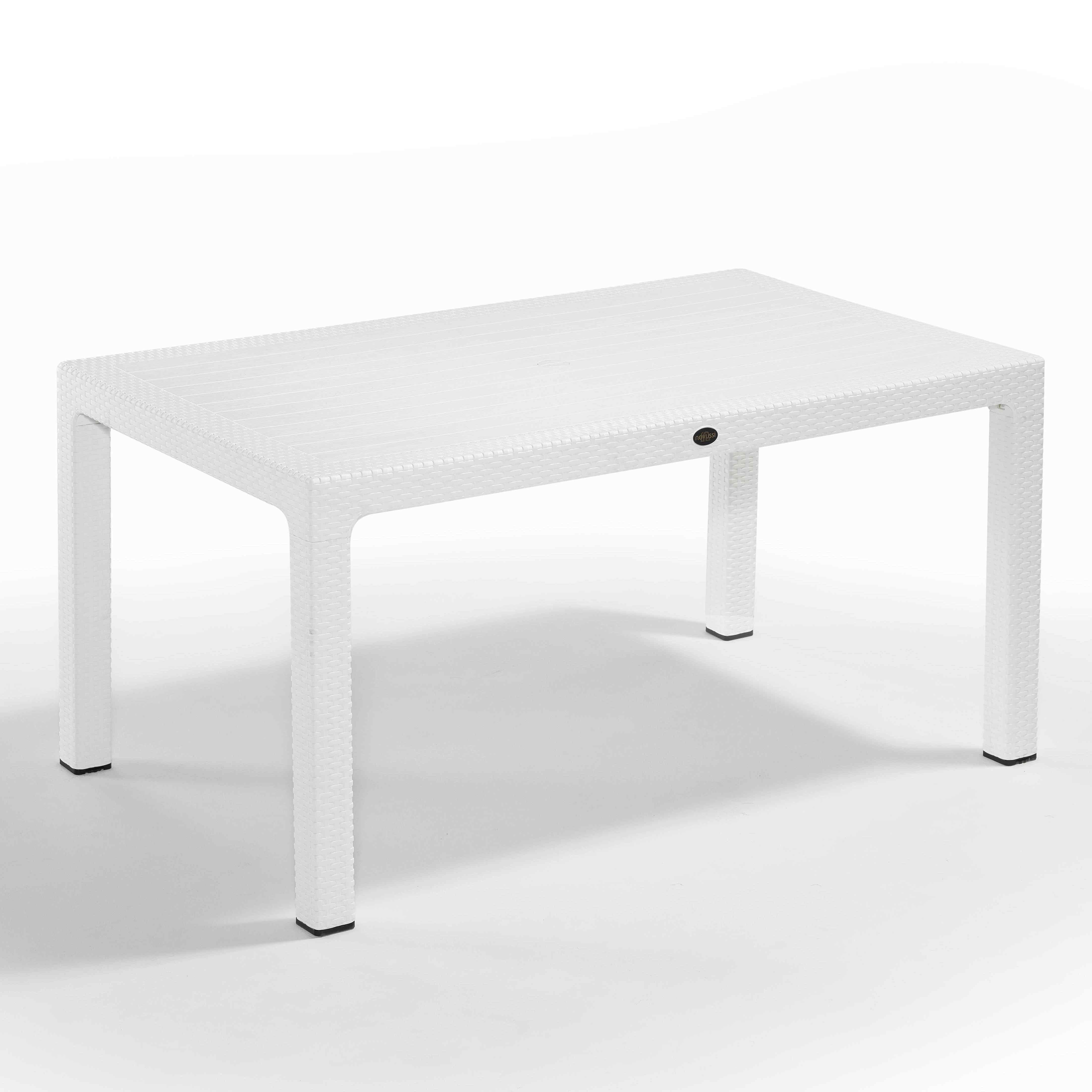 Novussi Rattan Masa 90 x 150 cm Camsız Beyaz