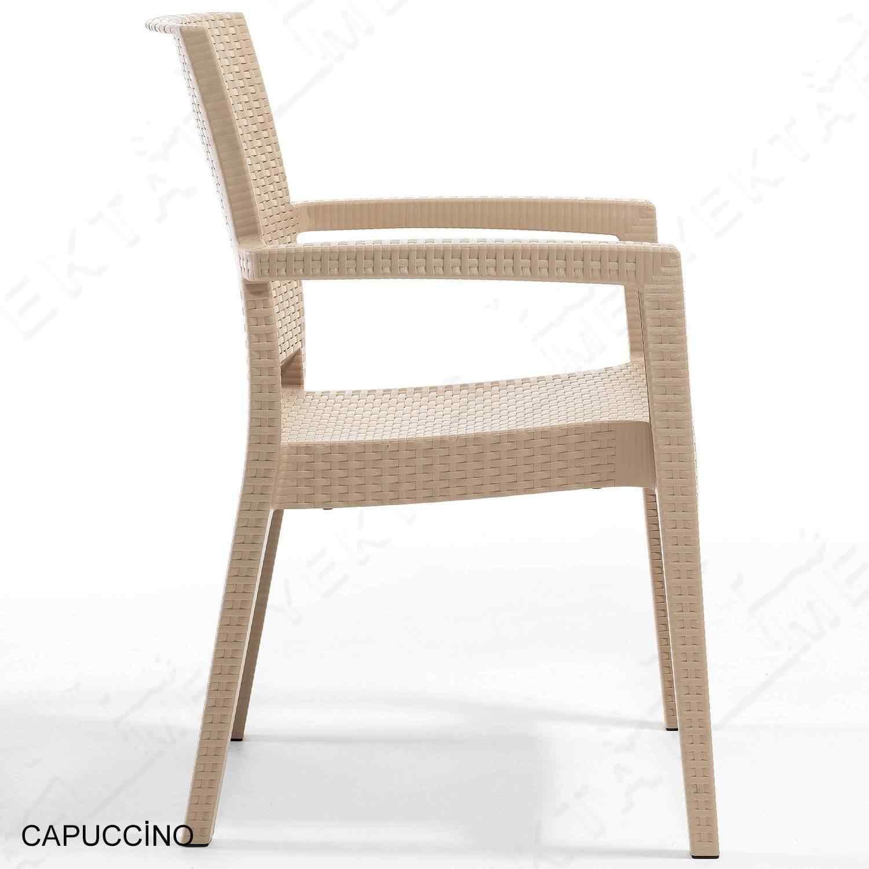 Novussi Paris Rattan Koltuk Bahçe Sandalyesi Cappucino