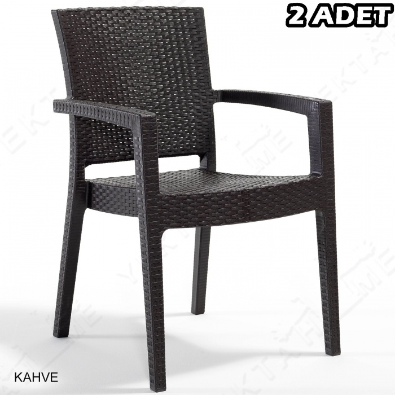 Novussi Paris Rattan Koltuk Bahçe Sandalyesi Kahverengi 2 Adet