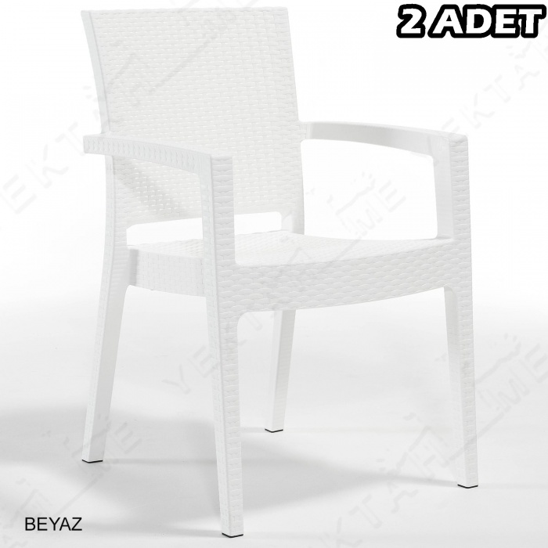 Novussi Paris Rattan Koltuk Bahçe Sandalyesi Beyaz 2 Adet
