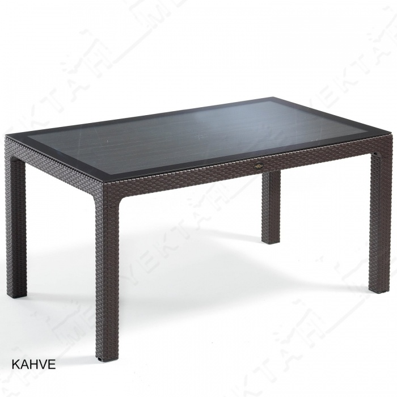 Novussi Liverno Rattan Masa Koltuk Takımı 90x150 Camlı Kahverengi