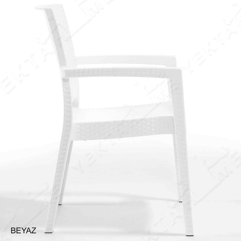 Novussi Liverno Rattan Masa Koltuk Takımı 90x150 Camlı Beyaz