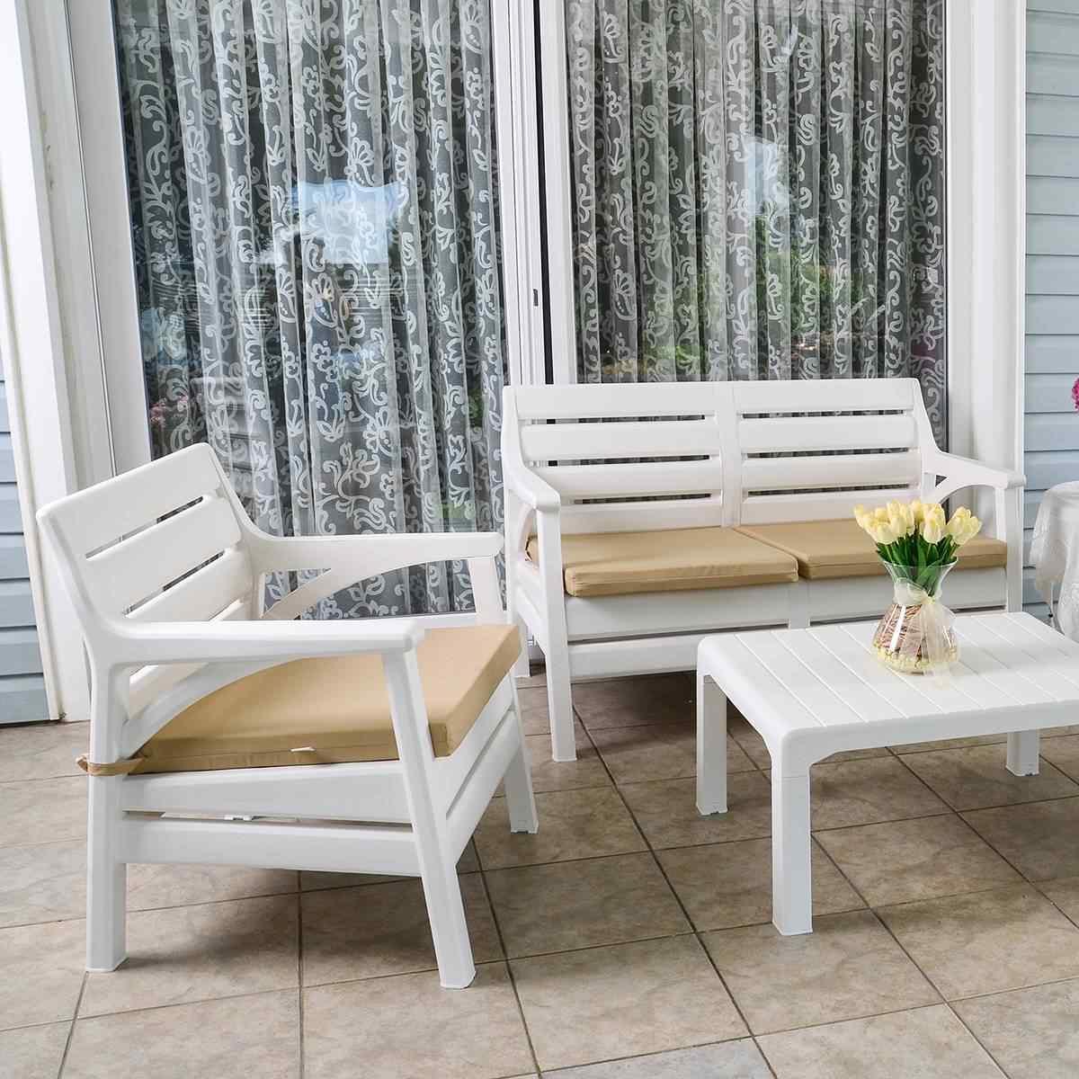 Holiday Miami Oturma Grubu Bahçe Ve Balkon Koltuk Takımı Beyaz