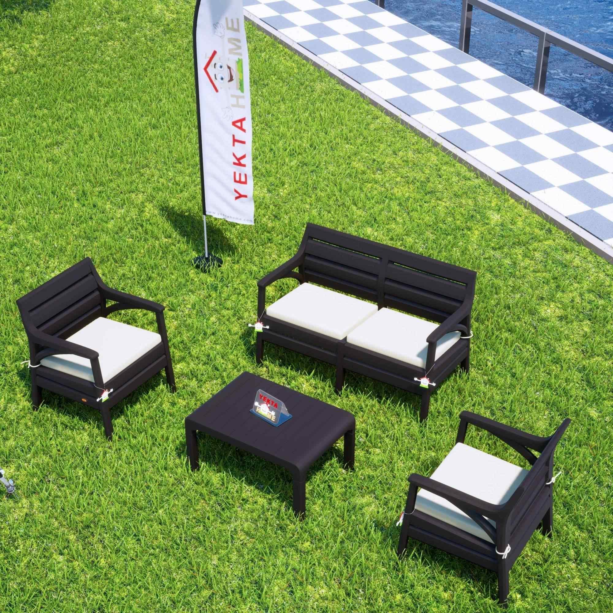 Holiday Miami Oturma Grubu Bahçe Ve Balkon Koltuk Takımı Kahverengi