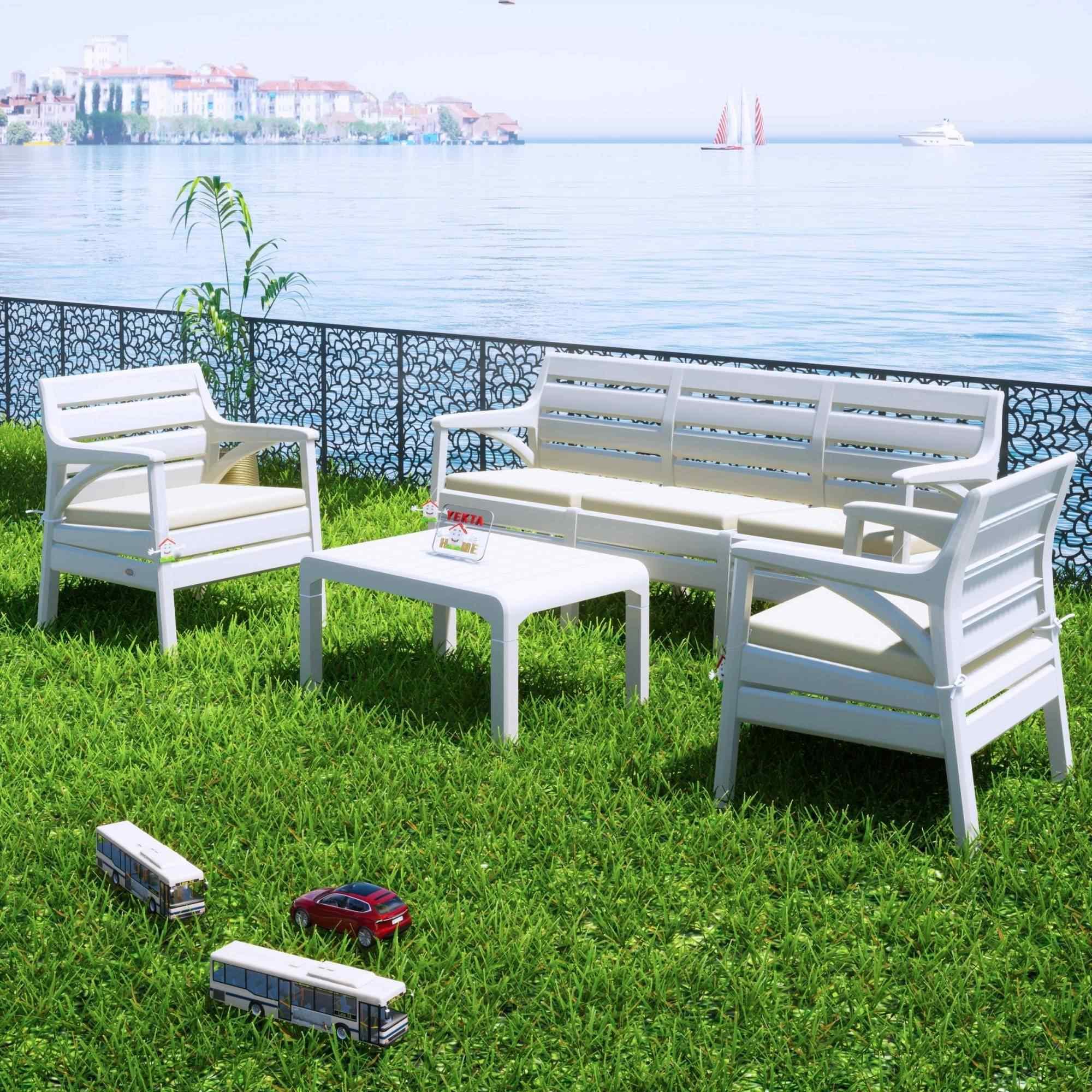 Holiday Hawaii Oturma Grubu Bahçe Ve Balkon Koltuk Takımı Beyaz