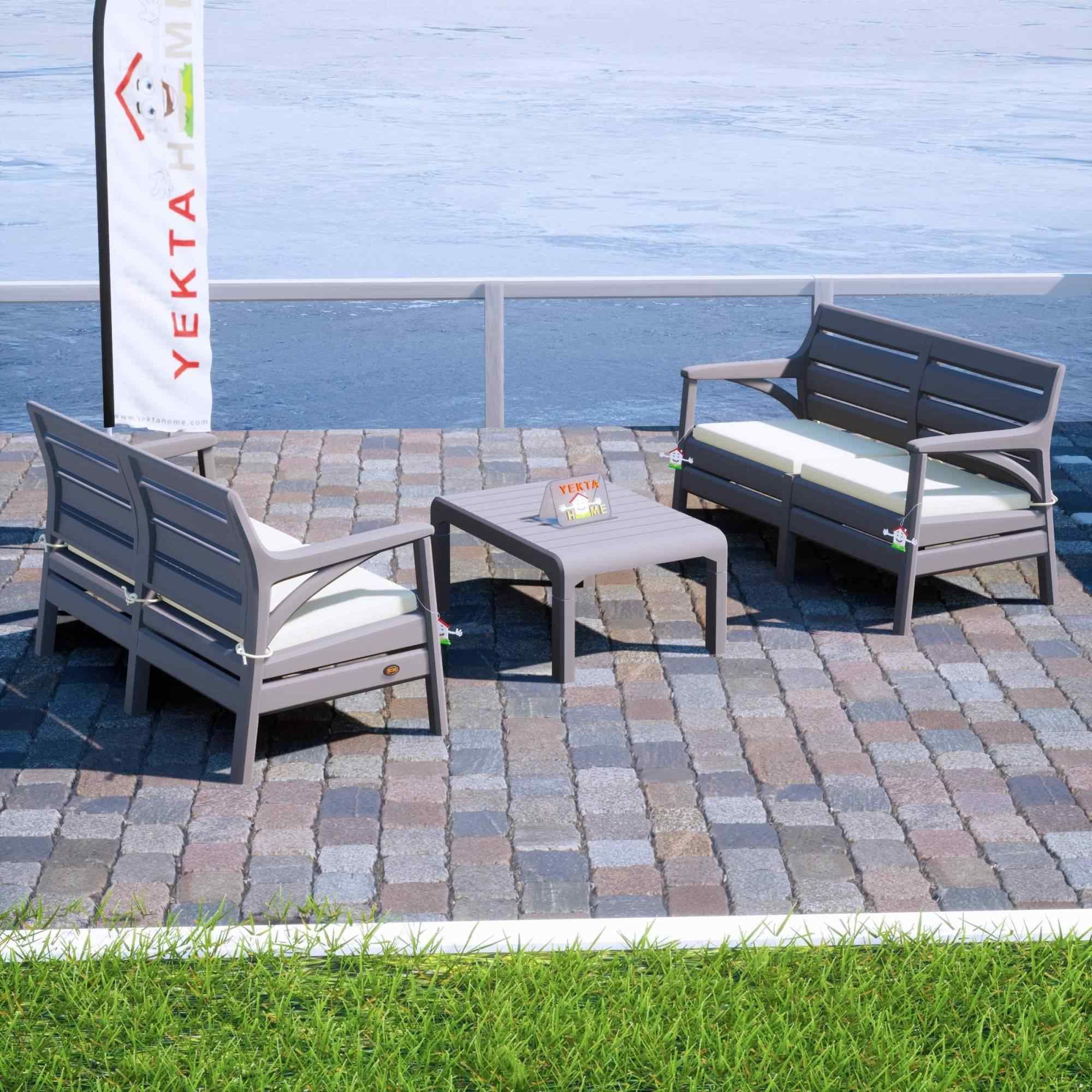 Holiday Torino Bahçe Takımı Oturma Grubu Balkon Seti Çöl Gri