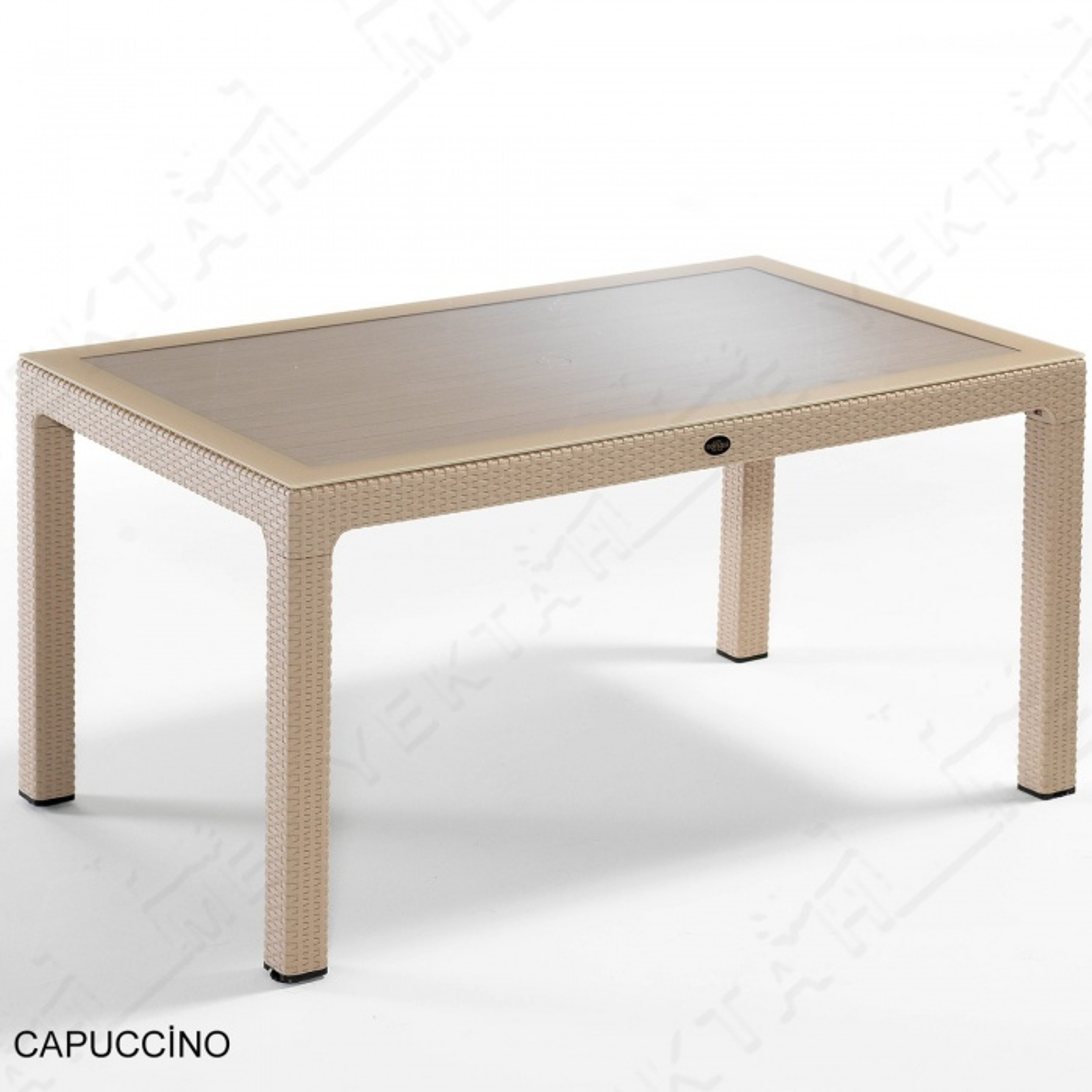 Novussi 150G Camlı Masa Bahçe ve Yemek Masası 6 Kişilik Cappucino