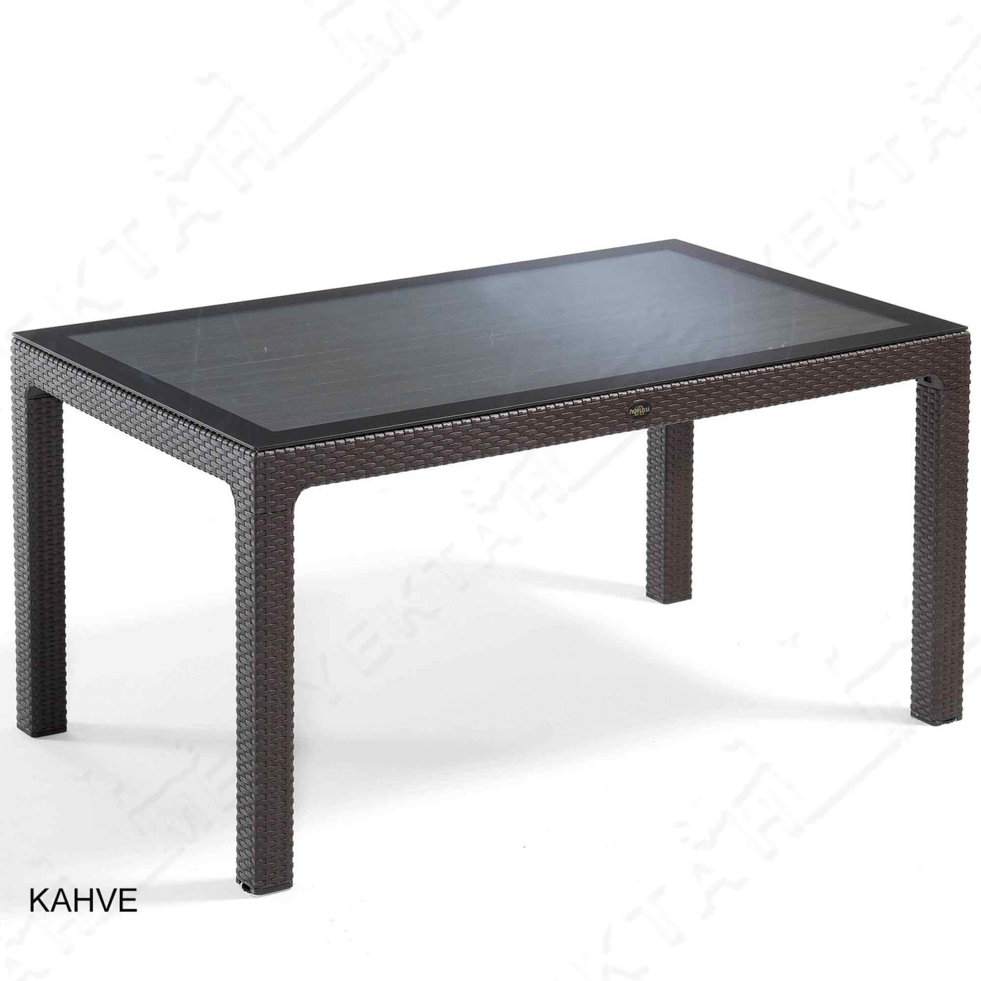 Novussi 150G Camlı Masa Bahçe ve Yemek Masası 6 Kişilik Kahverengi