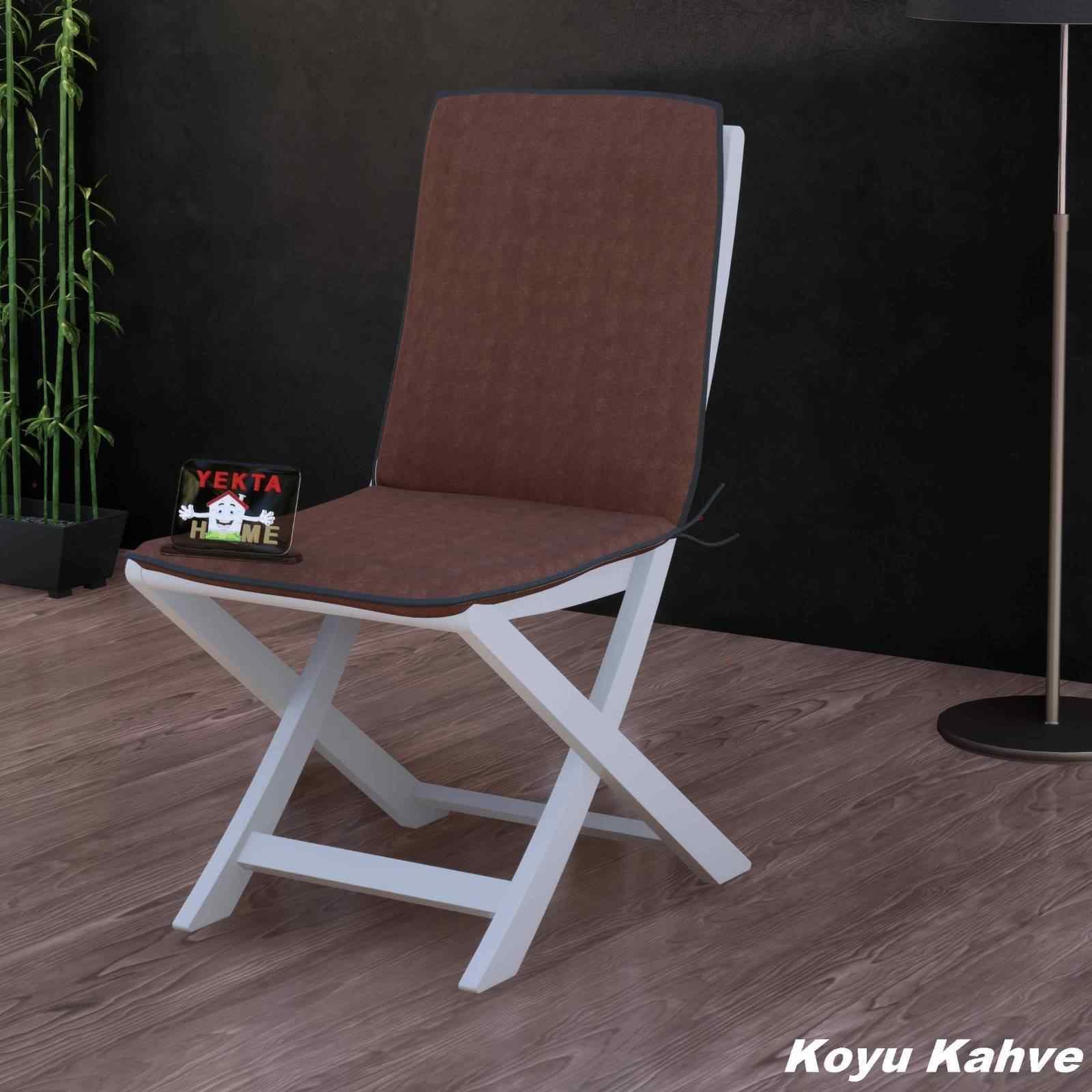 Sırtlı Sandalye Minderi - Arkalıklı Rattan Koltuk Minderi 6 Adet Koyu Kahve