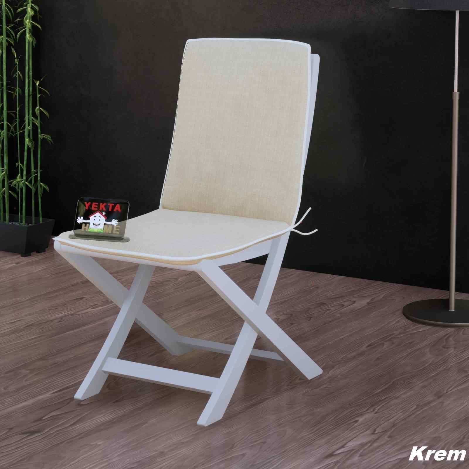 Sırtlı Sandalye Minderi - Arkalıklı Rattan Koltuk Minderi 6 Adet Krem
