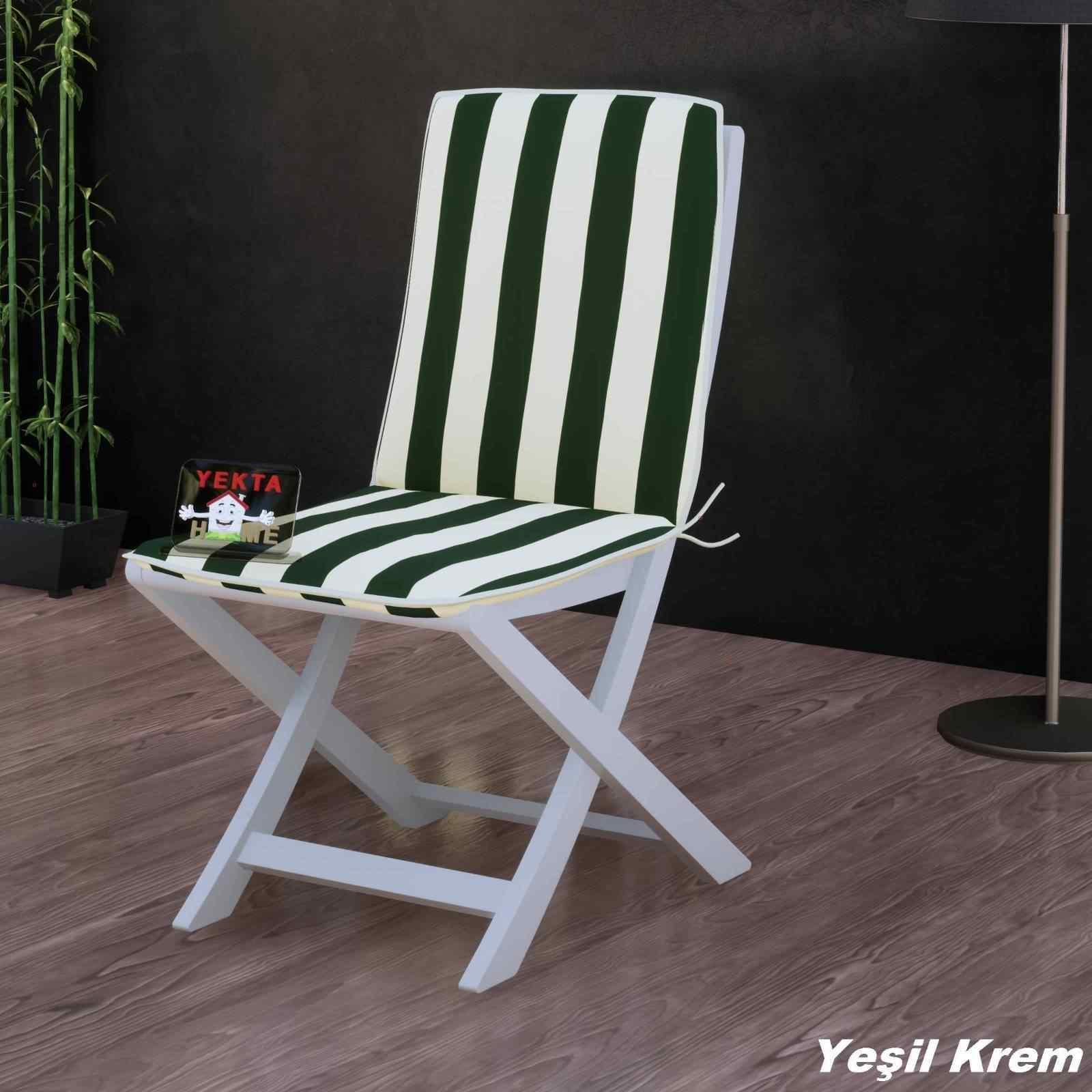 Sırtlı Sandalye Minderi - Arkalıklı Rattan Koltuk Minderi 6 Adet Yeşil Krem