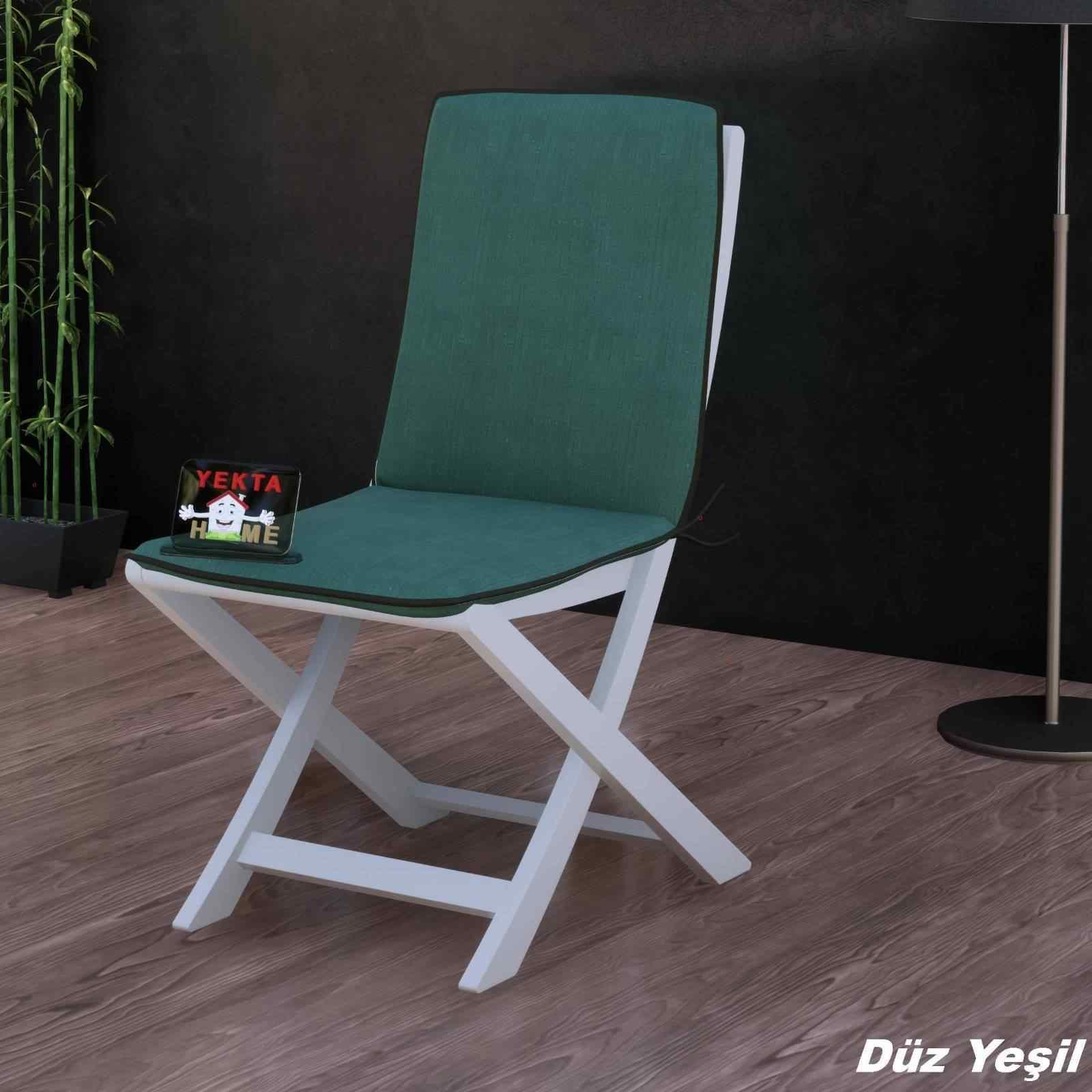 Sırtlı Sandalye Minderi - Arkalıklı Rattan Koltuk Minderi 6 Adet Düz Yeşil