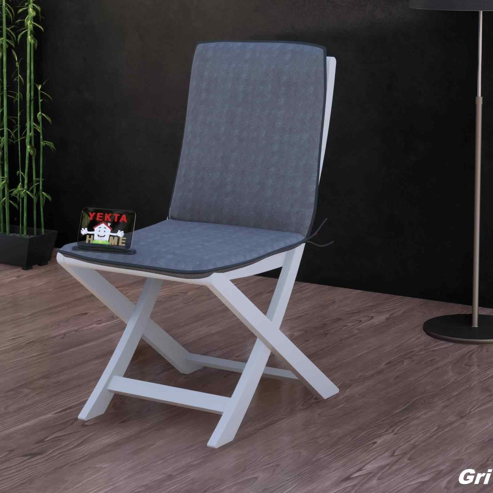 Sırtlı Sandalye Minderi - Arkalıklı Rattan Koltuk Minderi 6 Adet Gri