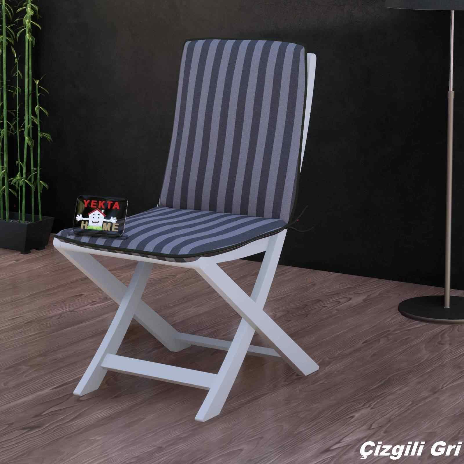 Sırtlı Sandalye Minderi - Arkalıklı Rattan Koltuk Minderi 6 Adet Çizgili Gri