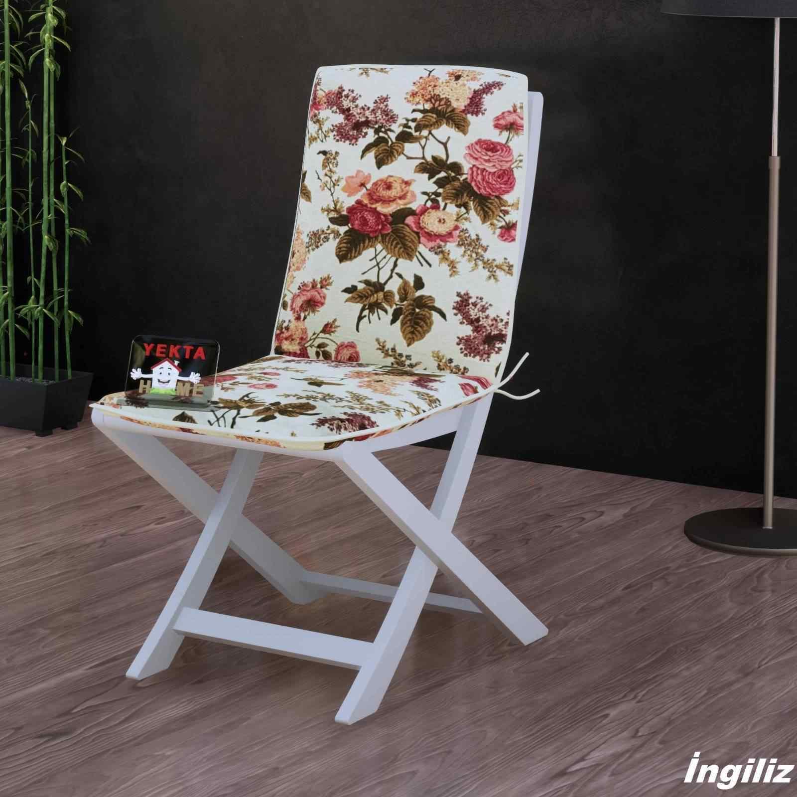 Sırtlı Sandalye Minderi - Arkalıklı Rattan Koltuk Minderi 6 Adet İngiliz