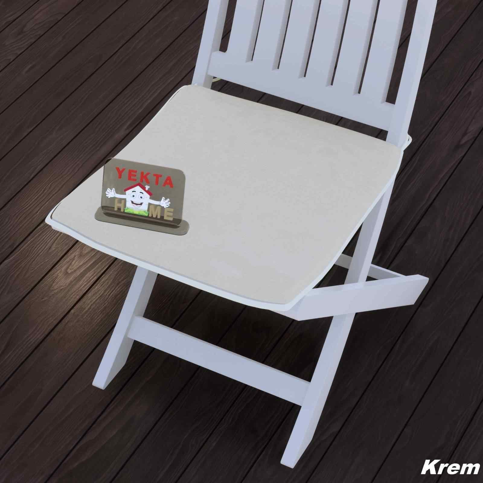 Sandalye Minderi - Rattan Koltuk Minderi 6 Adet Krem