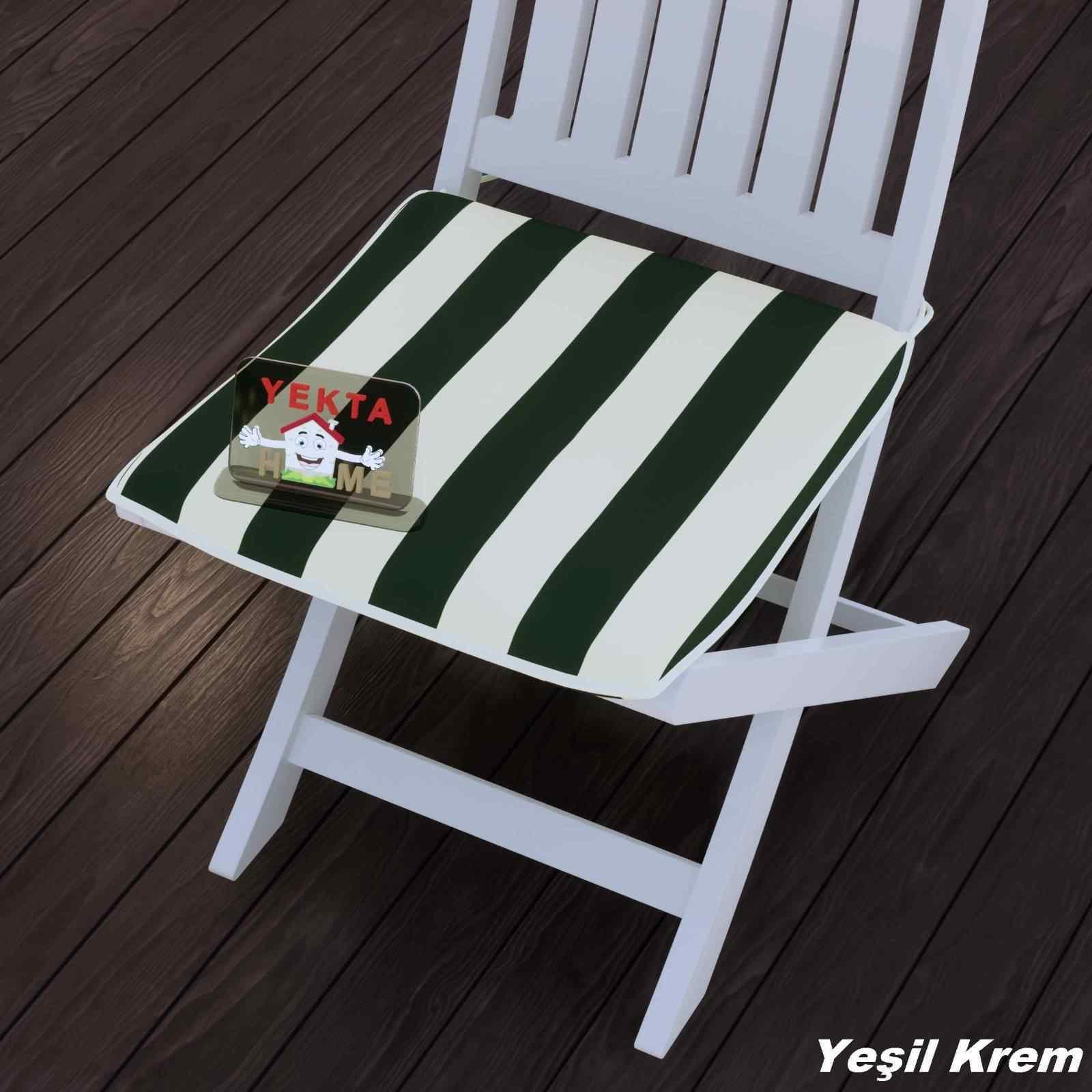 Sandalye Minderi - Rattan Koltuk Minderi 6 Adet Yeşil Krem