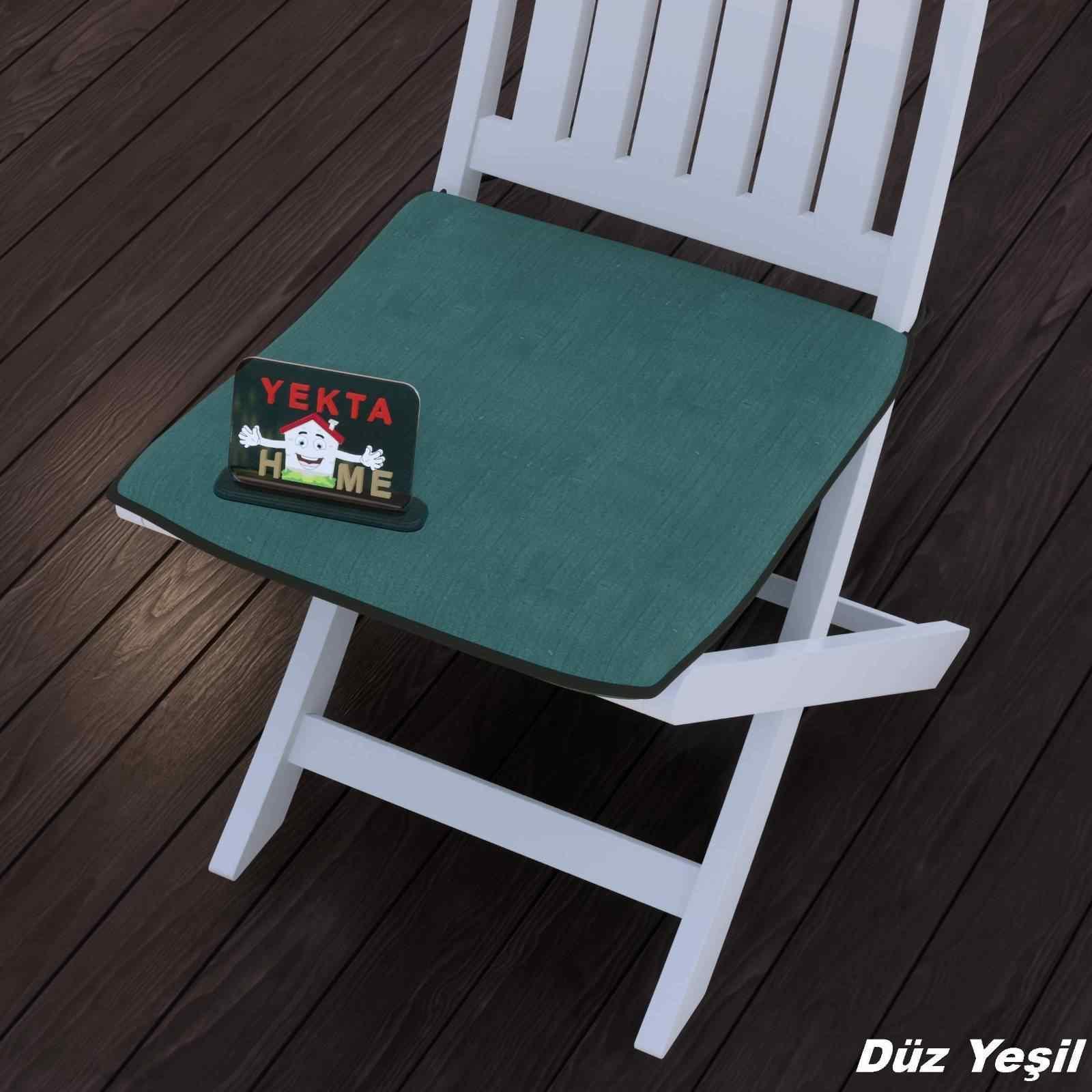 Sandalye Minderi - Rattan Koltuk Minderi 6 Adet Düz Yeşil